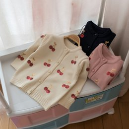 Wholesale Girl Cardigan Blue - 2017 kids clothes Autumn and winter children sweater girls cherry sequins cardigan children sweater