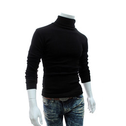 Wholesale Mens Wool Clothing - Wholesale- 2016 Winter Mens Turtleneck Sweaters Black Pullovers Clothing For Man Cotton Knitted Sweater Male Sweaters Pull Hombre XXXL 50