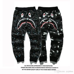 Wholesale Head Cakes - Hip-hop Popular The Product Sell Like Hot Cakes Men's Shark Head Japan Aape Luminous Camouflage Trousers Flight Zip Sports Small Pants.