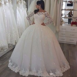 Wholesale Wedding Gown Transparent Sleeves - 2017 Vintage Winter Style Ball Gown Lace Muslim Wedding Dress Princess Long Sleeve Transparent Vestido de Noiva Custom Bridal Gowns