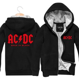 Wholesale Band Sweatshirts - Wholesale-New 2015 Fashion ACDC Rock Band Hip Hop Skateboard Mens Hoodies And Sweatshirts Casual Cardigan Thick Plus Velvet Jacket Winter