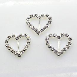 Wholesale Heart Ribbon Sliders - 100pcs lot 10mm Bar Clear Rhinestone Buckle Heart For Wedding Invitation Diamante Ribbon Sliders Wedding Decoration
