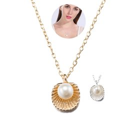 Wholesale Cheap Shell Necklaces - Rose & Imitation Platinum Necklace Beautiful Shell Shaped Artificial Pearl Elegant Pendant Necklaces for Women Cheap Jewelry Christmas Gift