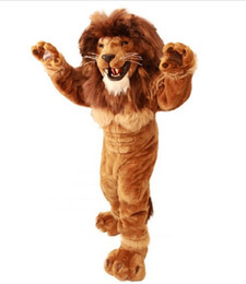 Wholesale Lion Mascot Costumes Adults - Friendly Lion Mascot Costume Adult Size Wild Animal Male Lion King Carnival Party Mascotte Fit Suit Kit EMS