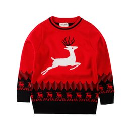 Wholesale Boys Knitwear Clothing - 2016 Christmas Kids Sweater Cartoon Deer Toddlers Knitted Pullover Good Quality Casual Children's Knitwear Boys Girls Clothes Wholesale