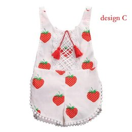 Wholesale Green Baby Girl Rompers - New 2017 bebe Lace Tassel Rompers Baby Girls Print Strawberry Jumpsuits Babies Princess Romper children's Summer clothing