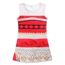 Wholesale Bohemian Outfits - Girls cartoon princess vest dress moana sleeveless dress kids summer clothing outfits for 4-11T
