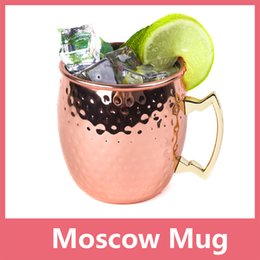 Wholesale Free Mules - Hammered Copper plated Stainless Steel Copper Moscow Mule Mug Sets Drum-Type Beer Cup Water Glass Drinkware Free Shipping 1114