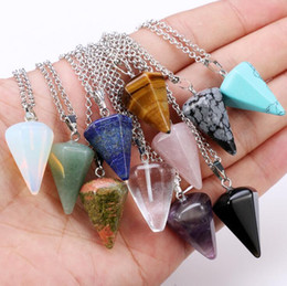 Wholesale Wholesale Cone Pieces - Best gift Natural Crystal Hexagonal Pendant Pendant Cone Clearance Crystal Necklace WFN068 (with chain) mix order 20 pieces a lot