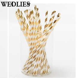 Wholesale Straws Wedding Drinking - Wholesale-25pcs lot Foil Paper Straws for Wedding Baby Shower Birthday Party Decorative Gold Silver Drinking Straws Supplies