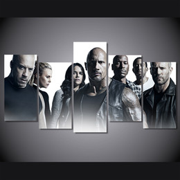 Wholesale Fast Oil Painting - 5Pcs Set Framed HD Printed Movie Fast And Furious Picture Wall Art Canvas Print Room Decor Poster Canvas Painting Art