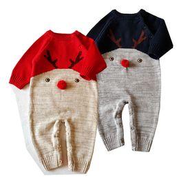 Wholesale Sweater Romper - Baby Christmas Jumpsuit Infants Xmas Deer Rompers Knit Sweater long Sleeve Cartoon Santa Romper One-piece boys girls Festivals gifts A7709