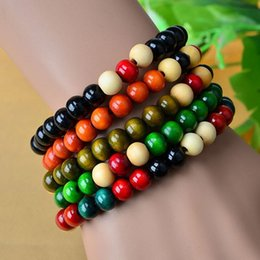 Wholesale Thanksgiving Bead Stretch Bracelet - Ethnic style series of new color wooden bead stretch bracelet lap small beads jewelry special wholesale