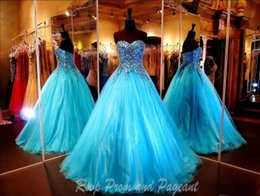 Wholesale Turquoise Carpet - Sequins Luxurious Quinceanera Dresses Floor Length Turquoise Blue Tulle Strapless Sleeveless Beautiful Evening Dresses Sweet Evening Gowns