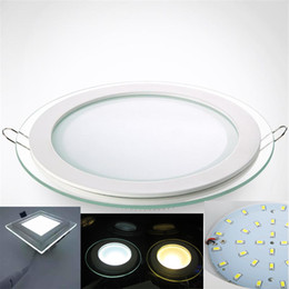 Wholesale Embedded Lamps - Glass Embedded LED Panel Lights Thin SMD5730 LED Ceiling Panel Lamp 6W 12W 18W 24W LED Panels for Kitchen AC85-265V CE RoHS FCC