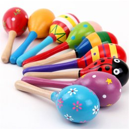 Wholesale Wooden Puzzle Ball - Wholesale- 2017 Wooden Orff Musical Instruments Toys Hand Puzzle Toy for Baby Kids Cartoon Sand Ball Battles Musical Sensory Toy