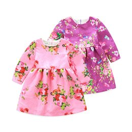 Wholesale Western Style Dresses Kids - New Girls Dress Princess Flower Long Sleeve Bowknot Autumn Children's Dress Western Fashion Kids Festival Christmas New Year Dress A7493