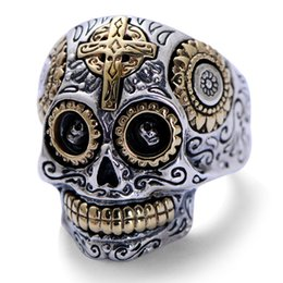 Wholesale Skull Small Rings - jarry234 Small black silver jewelry wholesale net 925 sterling silver ornaments cross skull men's ring 18K Gold Plated