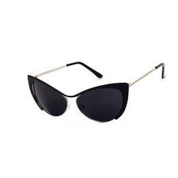 Wholesale Round Cateye Sunglasses - 2017 Fashion Cat Eye Rose HD Mirror Sunglasses Women Brand Designer Metal Frame Lady Sun Glasses Cateye Female Glasses Retro