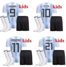 Wholesale Cheap Messi Soccer Jersey - Top Quality 2018 World Cup MESSI DYBALA Argentina Kids soccer jersey With socks Maradona Cheap Argentine ICARDI football kits 2017 18