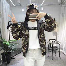 Wholesale Women S Black Military Coat - Women Thin Coat Camouflage Military Black Reversible Double Side Wear Baseball Jacket Coat With Hoodies Long Sleeve Thin Coat New Arrival