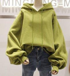 Wholesale Coats For Women Korea - Casual DrawString Hoodie Korea easing Lantern sleeve sweater girls first 2016 and velvet for fall winter padded coat