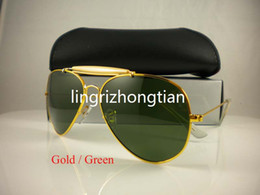 Wholesale Designer Glass Cloths - New Style Mens Sun glasses Pilot Sunglasses Outdoorsman Designer Sunglasses Gold Golden Green 62mm Unisex come with Box Cleaning Cloth