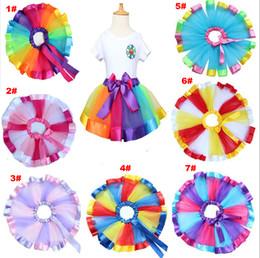 Meninas Mista Rainbow Color Cetim Trimed Gaze Dança Balé Petticoat Crianças Tutu Saias Fita Do Bebê Festa de Aniversário Traje de Halloween de Fornecedores de fita mista de cetim