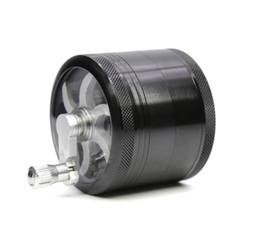 Wholesale Wholesale Lighter Covers - Diameter 63MM four - layer aluminum alloy hand - cranked cigarette lighter transparent bottom cover rocker grinder 228-11TM
