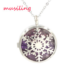 Wholesale Snowflakes Beads - Openwork Snowflake Locket Pendants Necklace Natural Gem Stone Pendant Turquoise Lapis Lazuli etc Stone Bead Charms Fashion Jewelry for Women