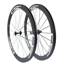 Wholesale Carbon Race Wheel Sets - CSC 50mm Clincher Tubular Tubelss carbon road bike wheels racing bicycle wheelset Novatec hub + aero spokes 23mm,25mm Width