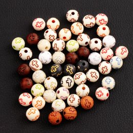 Wholesale Assorted Loose Beads - Hollow Cross Carved Acrylic Round Spacer Beads Assorted Color Religious 1000pcs lot Loose Bead 8mm L3102 Jewelry DIY