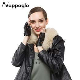 Wholesale Short Leather Gloves For Women - Wholesale- Nappaglo New Fashion Womens Fingerless Gloves 100% Genuine Sheepskin Leather Short Glove For Women Wrist Mittens Perforated GYM
