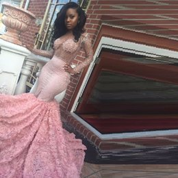 Wholesale Engagement Dress Long Sleeve - Luxury African Prom Dresses for Black Girl Pink Lace Crystal Engagement Evening Dress Long Sexy Sheer Custom Made robe de Soiree