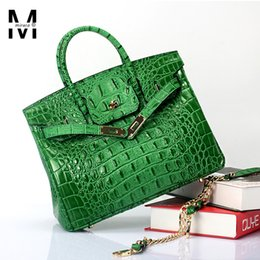 Wholesale H Genuine Leather Handbags - Wholesale- Luxury Size 25 30 Famous H Brand Designer Ladies Crocodile Cowhide Genuine Leather Handbag For Women Shoulder Crossbody Tote Bag