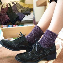 Wholesale Thermal Knee High Socks Women - high quality fashion shining socks warm autumn winter thickened knitted thermal women brand long harajuku boot socks christmas