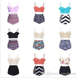Wholesale Fashion Tankini Swimwear - Women High Waist Bikini Push Up Falbala Tankini Retro Swimwear Print Swimsuit Floral Bathing Suit Fashion Beachwear Sexy Top Bottom B1686