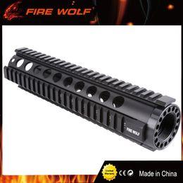 Barandilla m4 online-FIRE WOLF Tactical T-Series 4/15 Free Float 10 Inch Handguard Quad Rail Mount para AR-15 M4