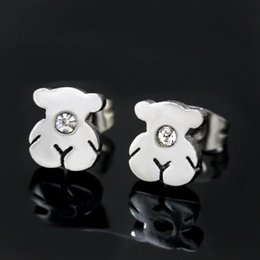 Wholesale Stainless Steel Earring Posts - Post promotional fashion simple stainless steel bear silver with drill Earrings