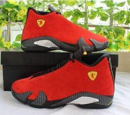 Wholesale cheap shoot - 2016 air Cheap 14 trainers basketball shoes last shot black toe thunder gs red suede Varsity Red Oxidized Sport sneakers boots