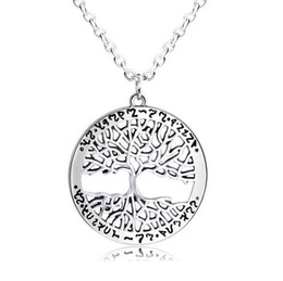 Wholesale United Life - Europe and the United States selling life tree necklace Fashionable hollow round retro pendant necklace