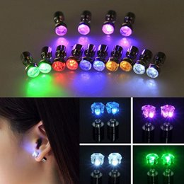 Wholesale Earring Glow Studs Wholesale - 8pcs   lot (4 pairs) LED Earring Light Up Crown Glowing Crystal Stainless Ear Drop Ear Stud Earring Jewelry Free Shipping