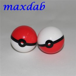 Wholesale pokemon boxes - Silicon Poke Mon Ball Pokeball Food Grade Silicone Ball Container Jar for Dab Oil Dry herb Wax Box glass bongs