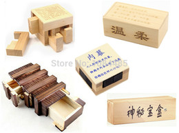 Wholesale Novelty Kids Games - Wholesale- Classic IQ Test Brain Teaser Game Toy Desk Novelty Wooden Magic Box Puzzle for Adults and Kids
