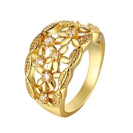 Wholesale Large Crystal Silver Rings - Fashion Rings Large Vintage Beautiful Flowers Crystal Ring Zircon Wedding Decoration Women Jewellery R108