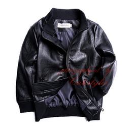 Chaqueta de cuero de los muchachos negro online-Pettigirl Otoño Pu Boy Boy Abrigo de cuero Negro Cremallera de manga larga Causal Chaqueta Niños Outwear Ropa B-DMOC908-936