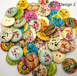 Wholesale Diy Scrapbook Decoration - Wooden Buttons vintage clock 2 holes for handmade Gift Box Scrapbook Craft Party Decoration DIY favor Sewing Accessories