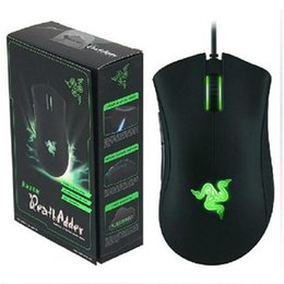 Wholesale New Version Packing - Razer DeathAdder OEM Version Upgraded Gaming mouse 3500dpi Brand New laptop Game mouse Blue Green light wired usb mouse with retail Pack