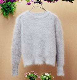 Wholesale Short Hair Mink Fur Coat - High quality Ladies women fashion short Korean o-neck Angora rabbit hair long sleeves slim pullover mink cashmere sweater coat YT-31
