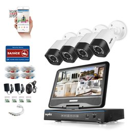 "Wholesale Remote Control Bullets - SANNCE® CCTV Security System 10.1"" LCD 4CH HD 720P 1500TVL In Outdoor Support AHD CVI TVI Analog Cameras with Night Vision Remote Control"